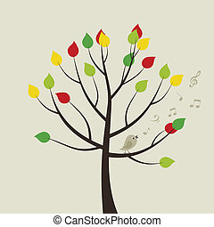 Tree a bird3 - The bird sings on a tree. A vector...