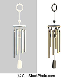 Feng Shui wind chime isolated on white, set of two