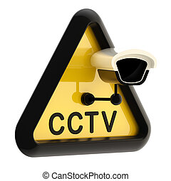 Closed circuit television CCTV alert sign with real camera...