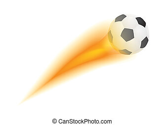 flying soccer ball with flame vector illustration