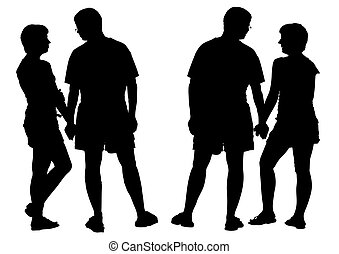 Two silhouettes of young romantic pair. Isolated on white...