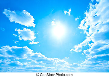 Bright sun and sky - Bright sun in a soft blue sky with...
