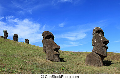 Easter Island - Ancient hand carved moai statues on Easter...