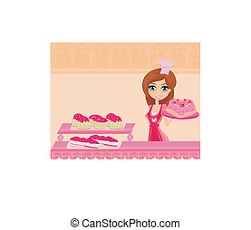 sweet Housewife cooking cakes