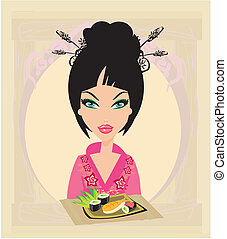beautiful woman enjoys sushi