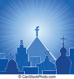 New religion. Social network - Vector illustration, social...