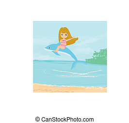 cute girl is riding a dolphin