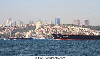 Large tanker ship - Tanker ship sails in Bosporus waters