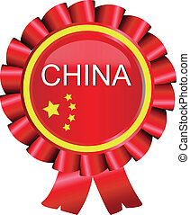 Medal award China flag vector - Medal award ribbon China...