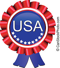Medal award ribbon USA flag