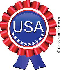 Medal award ribbon USA flag vector