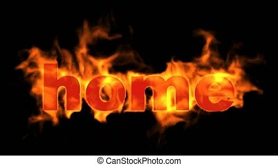 burning home word,fire text