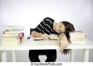 perezoso, estudiar, bajas, mientras, dormido, niña