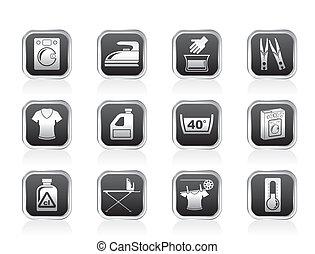 Washing machine and laundry icons - vector illustration