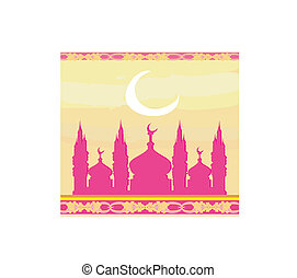 mosque silhouette vector card