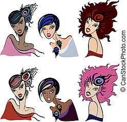 Set of beautiful vintage women. Vector  Illustration.