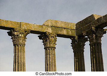 Pillars of roman temple, Evora, Portugal
