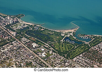 Aerial view of Jackson Park in Chicago, and Lake Michigan