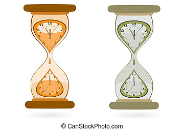 Hourglass with Wall Clocks - Abstract sand Hourglass with...
