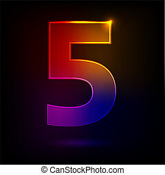 Five - Colored transparent figure Five on a dark background...