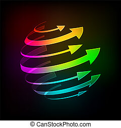 Bright arrows - Abstract Bright arrows icon on a dark...