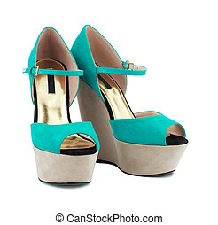 Turquoise shoes - Turquoise suede shoes. High heel.