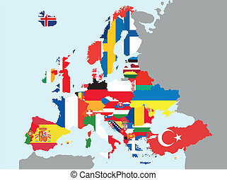 europe map  - illustration of europe map with flags