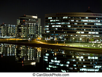 Tempe Waterfront Night - Tempe Arizona development on the...