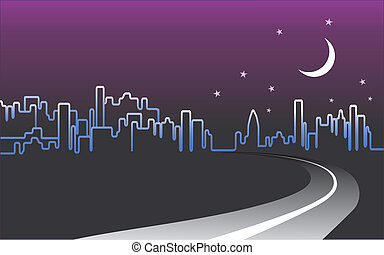 City Skyline Night Landscape - City skyline night landscape...