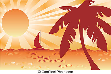 Hot Tropical Landscape - Tropical beach landscape with palm...