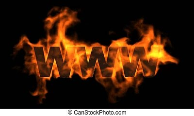 www,burning internet word,web text
