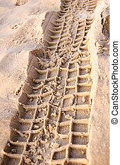 Ruts. - Ruts in sand on beach.
