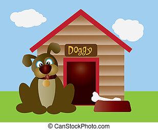 Cute Puppy Dog with Dog House - Cute Puppy Dog with Dog Bone...