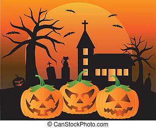 Halloween Jack O Lantern Pumpkins with Church Moon Black Cat...