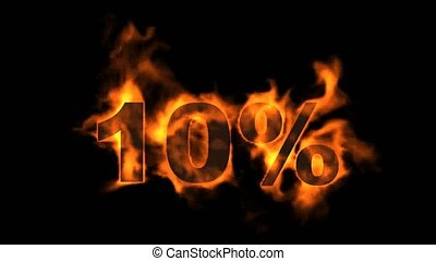 Sale Off 10%,burning ten Percent Off,fire text.
