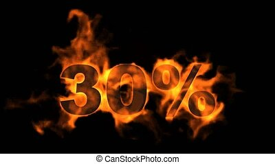 Sale Off 30%,burning thirty Percent Off,fire text.