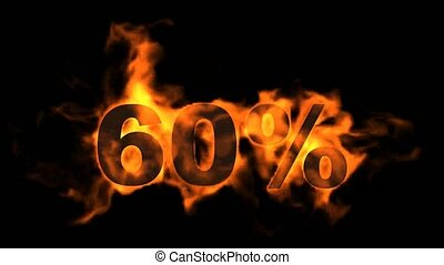 Sale Off 60%,burning sixty Percent Off,fire text.