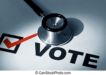 Stethoscope and Check Mark, concept of Voting