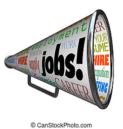 trabalhos, Bullhorn, megafone, carreira, trabalho, Emprego