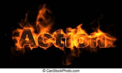 action text.burning business fire word.