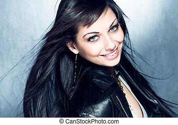 sorrindo, longo, pretas, cabelo, menina, azul, olhos