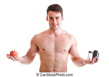 vitamin or pills drag tablet boxes supplements Man isolated