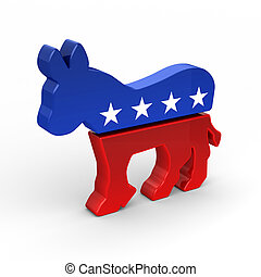 Democrat Donkey in 3D over white background