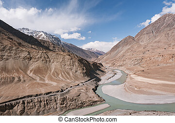 Sindhu and Zanskar Rivers - Confluence of Sindhu Indus and...