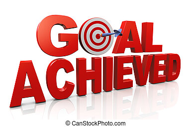 Achieving goals and targets - 3d render of word goal...