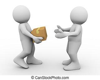 Parcel delivery - 3d render of man delivering parcel. 3d...