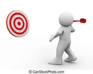 3d man throwing dart