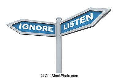 3d listen ignore signpost - 3d render of signpost of words...