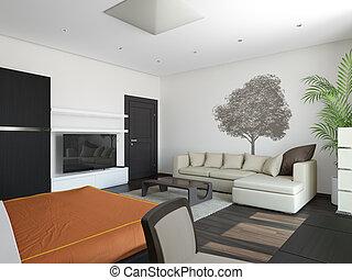 Guest room. It's 3D image.