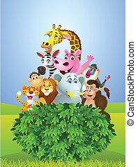 Animal cartoon - Vector illustration of animal cartoon group